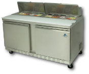 "Two door sandwich-salad prep unit, 60"" wide"