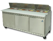 "Three door sandwich-salad prep unit, 72"" wide"