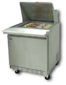 "One door mega top sandwich-salad prep unit, 27.5"" wide"