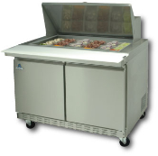 "Two door mega top sandwich-salad prep unit, 48"" wide"