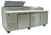 "Three door pizza prep unit, 93"" wide"